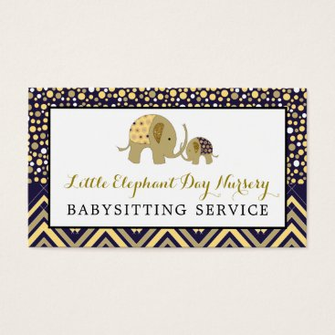 Professional Business Blue Boho Elephant, Babysitting, Day Nursery Business Card