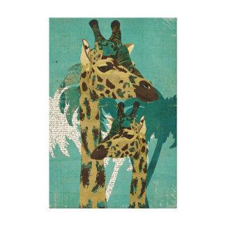 Blue Boho Giraffes  Art Canvas