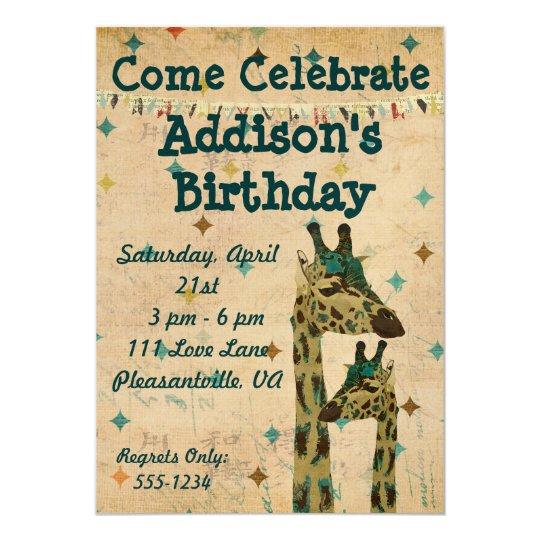 Blue Boho Giraffes  Birthday Invitation