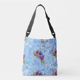 Blue Bokeh Bling Purple & Blue Flowers Crossbody Bag