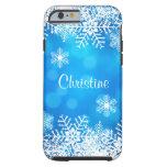 Blue Bokeh Christmas Snowflake Tough iPhone 6 Case