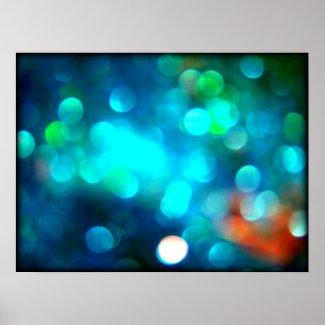 Blue Bokeh Glitter Poster Art Fine Art