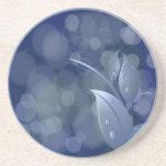 Blue Bokeh Leaves Beverage Coaster