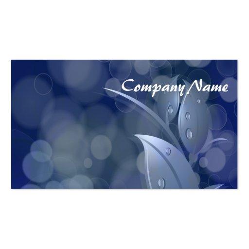 Blue Bokeh Leaves Business Card Template