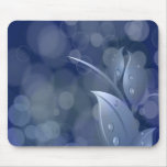 Blue Bokeh Leaves Mouse Pads