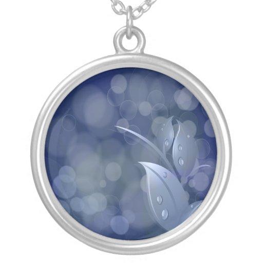 Blue Bokeh Leaves Necklace