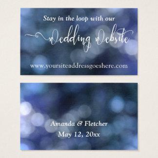 Blue Bokeh Light 32 Wedding Website Address Business Card