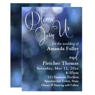 Blue Bokeh Light & Typography 32 Wedding 2 Card