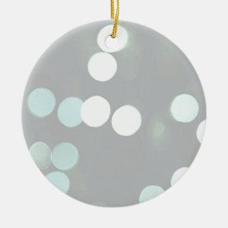 Blue Bokeh Lights Ceramic Ornament