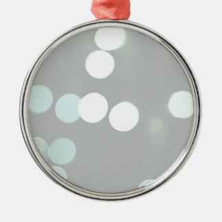 Blue Bokeh Lights Metal Ornament