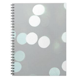 Blue Bokeh Lights Spiral Notebook