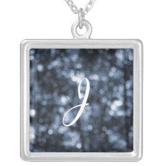 Blue Bokeh Square Pendant Necklace
