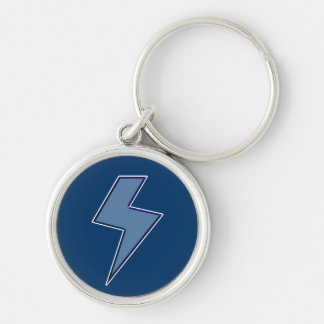 Blue Bolt Silver-Colored Round Keychain