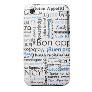 Blue Bon appetit in many languages iPhone 3 Cover