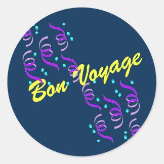 Blue Bon Voyage B3S Classic Round Sticker