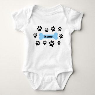 Blue Bone and Paw Prints Baby Bodysuit