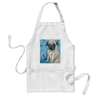 Blue Bone Pug Design Adult Apron