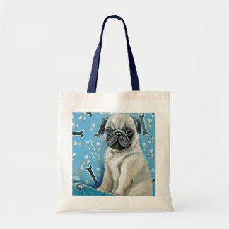 Blue Bone Pug Design Tote Bag