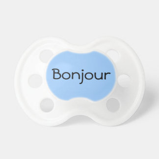 Blue Bonjour Hello in French Cute Baby Binkie Pacifiers