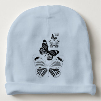 Blue bonnet of birth black and white butterflies baby beanie