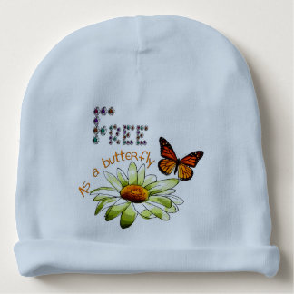 "Blue bonnet of birth ""Free ace has butterfly "" Baby Beanie"