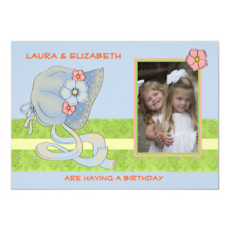 Blue Bonnet Siblings - Photo Birthday Party  Invit Card