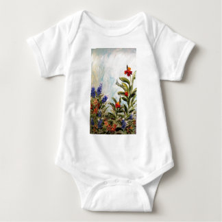 Blue Bonnets and Canna Lilies Baby Bodysuit