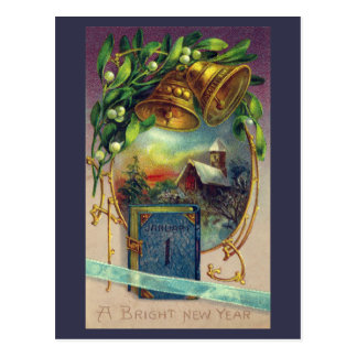 Blue Book and Brass Bells Vintage New Year Postcard
