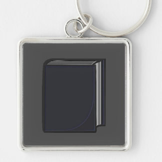 Blue Book - GreyBkg Silver-Colored Square Keychain