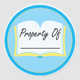 Blue Book Property Of Reading Bookplates Classic Round Sticker