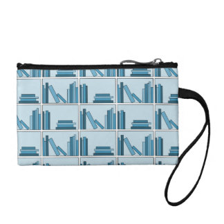 Blue Books on Shelf. Coin Wallet
