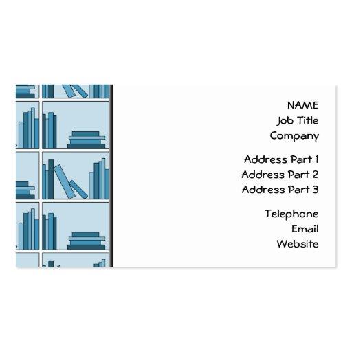 Blue Books on Shelf. Business Card Templates