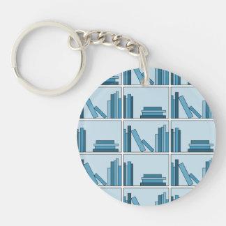 Blue Books on Shelf. Keychain