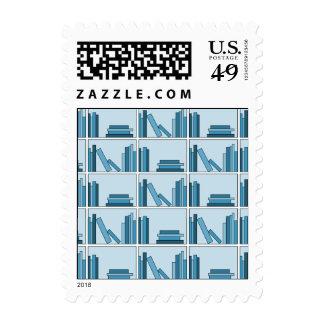 Blue Books on Shelf. Postage Stamps