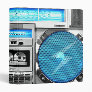 Blue boombox 3 ring binder
