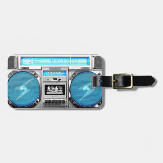 Blue boombox bag tag