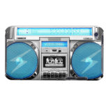 Blue boombox barely there iPod cover