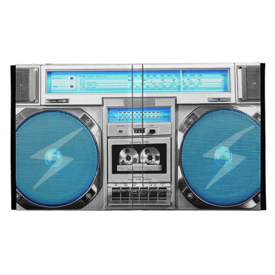 Blue boombox iPad folio case