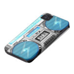 Blue boombox iPhone 4 cases