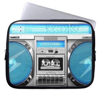 Blue boombox laptop sleeve