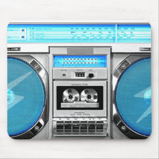 Blue boombox mouse pad