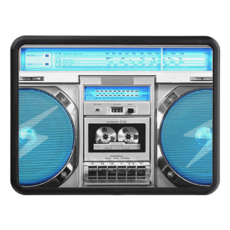 Blue boombox trailer hitch cover