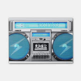 Blue boombox post-it notes