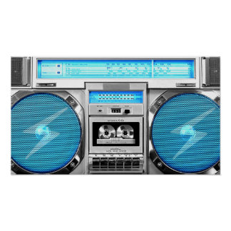Blue boombox poster