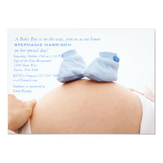 Blue Booties on the Belly Baby Shower Invitation