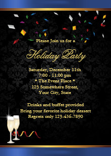 blue border corporate holiday party invitations