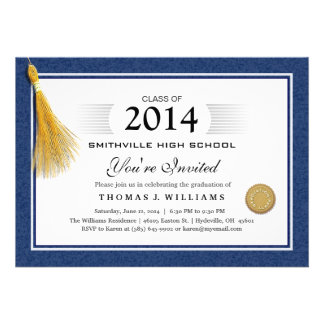 Blue Border Diploma with Tassel Graduation Invite