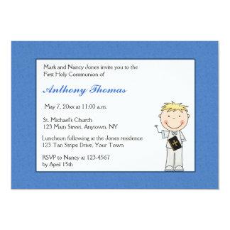 Blue Border, Little Boy Communion Invitation