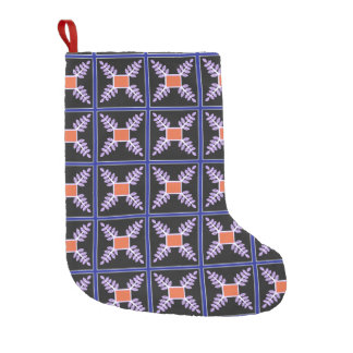 blue bordered leaf square small christmas stocking