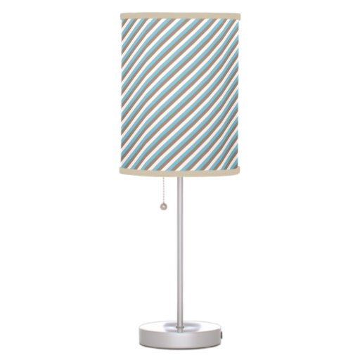 blue borwn and white stripes pattern table lamps zazzle. Black Bedroom Furniture Sets. Home Design Ideas